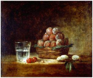 Chardin 1759 Panier de prunes et verre d'eau Musee des Beaux Arts, Rennes