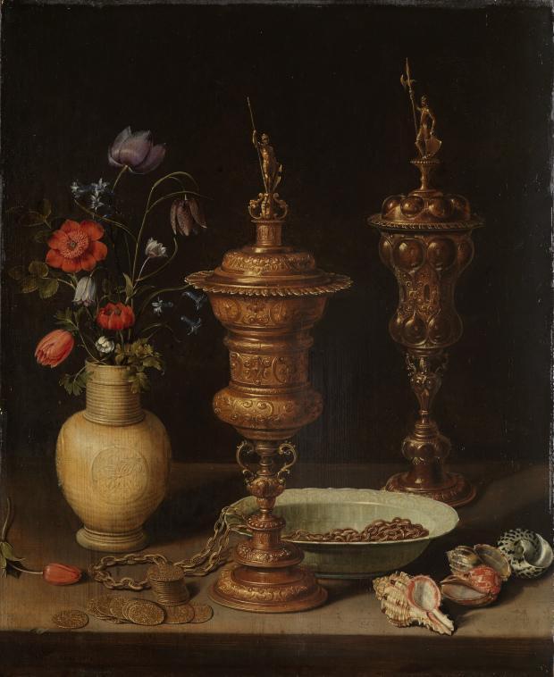 Clara Peeters 1611 B Bodegon con flores, copas doradas, monedas y conchas STAATLICHE KUNSTHALLE, KARLSRUHE