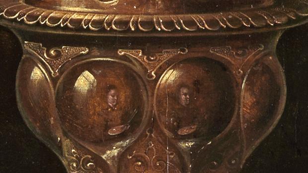 Clara Peeters 1611 B Bodegon con flores, copas doradas, monedas y conchas STAATLICHE KUNSTHALLE, KARLSRUHE reflet