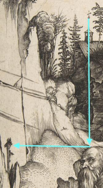 Durer 1496 Saint Jerome au desert _Metropolitan detail croix