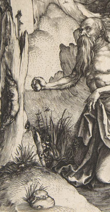 Durer 1496 Saint Jerome au desert _Metropolitan detail pierre