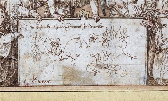 La Messe des Anges dessin 1517 detail