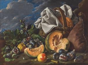 Melendez 1771A Bodegon con melon y brevas, manzanas, bota de vino y cesta de merienda en un paisaje Prado