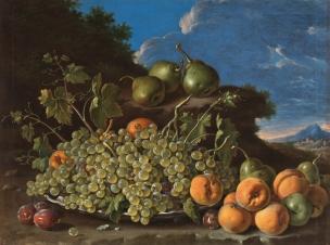 Melendez 1771A Bodegon con plato de uvas, melocotones, peras y ciruelas en un paisaje Prado