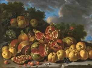 Melendez 1771B Bodegon con granadas, manzanas, acerolas y uvas en un paisaje Prado