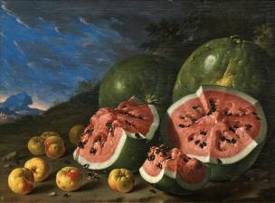 Melendez 1771B Bodegon con sandias y manzanas en un paisaje Prado