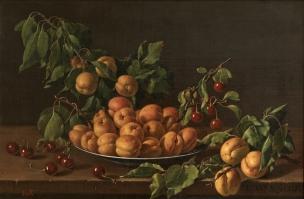 Melendez 1773 Bodegon con plato de albaricoques y guindas Prado