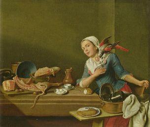 Peter Jacob Horemans Kuchenstillleben_mit_weiblicher_Figur_und_Papagei_-_1760 Staatsgalerie im Neuen Schloss, Bayreuth