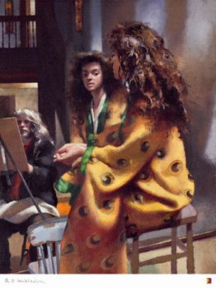 Robert Lenkiewicz Anna in Yellow Kimono at Lower Compton. St Antony theme