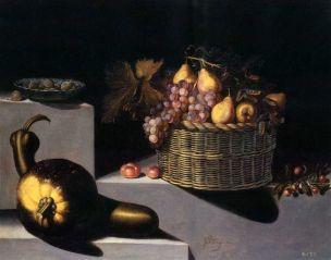 Van der Hamen 1629 Bodegon con cuenco de ceramica china azul y blanca con ciruelas 79 x 99,6 cmColl Part