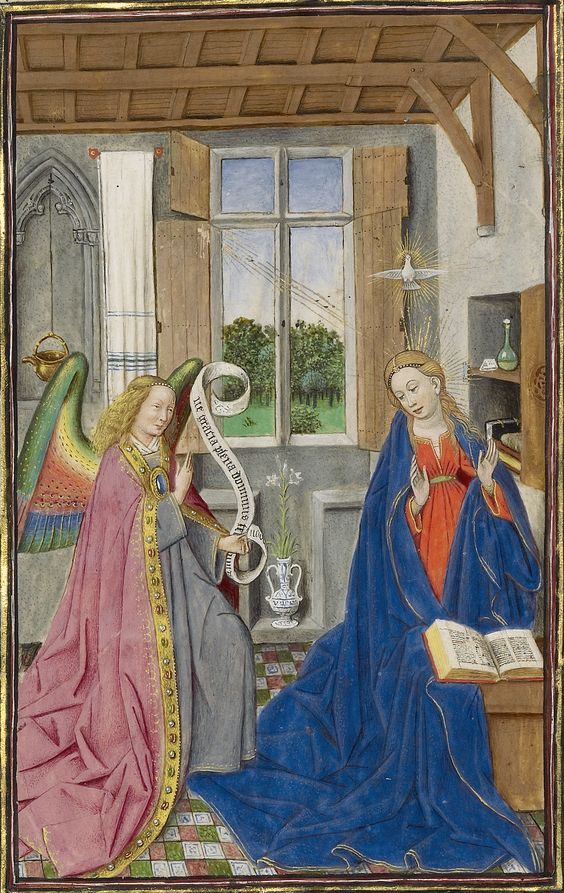 Annonciation, vers 1450, The Llangattock Hours. Getty Museum Malibu