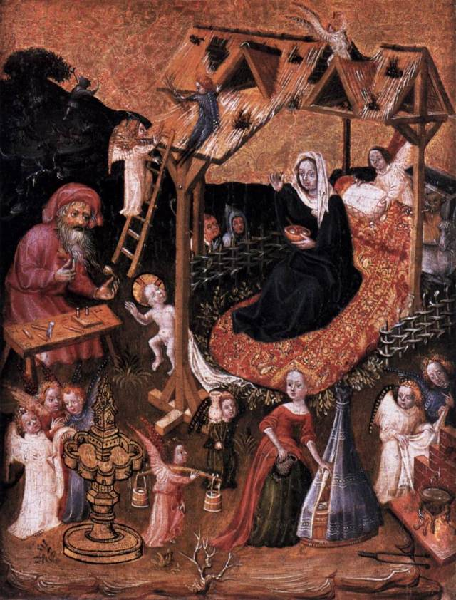 Anonyme_The_Holy_Family_with_Angels_-vers 1425 Gemaldegalerie, Berlin