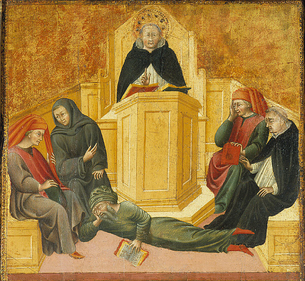 Giovanni_di_Paolo_St._Thomas_Aquinas_Confounding_Averroes 1445-50 Musee d'art de Saint-Louis