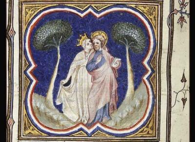 La fiancee et son bien-aime, le Cantique des Cantiques, illustrateur de la bible historiale de Petrus Cosmetor, Bible historiale, 1342, France, musee Meermanno Westreeianum, La Haye