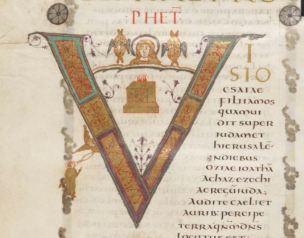 Incipit du livre d Isaie, Premiere Bible de Charles le Chauve, 9eme s, folio 130v
