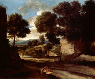 Poussin 1637-1638 Paysage_avec_des_voyageurs_au_repos_-__-_National_Gallery_London