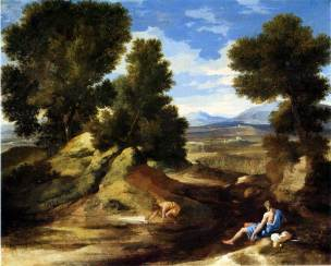 oussin 1637-1638 Paysage_avec_homme_buvant_-__-_National_Gallery_London
