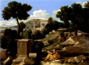 Poussin 1640 Paysage_avec_saint_Jean_a_Patmos_-_Chicago_Art_Institute