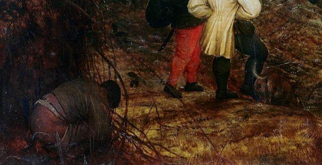 Brueghel 1568 Die_Elster_auf_dem_Galgen Musee regional de la Hesse, Darmstadt detail chieur