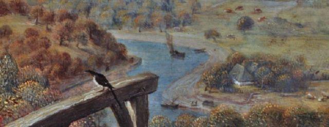 Brueghel 1568 Die_Elster_auf_dem_Galgen Musee regional de la Hesse, Darmstadt detail deux rives
