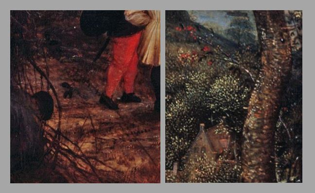 Brueghel 1568 Die_Elster_auf_dem_Galgen Musee regional de la Hesse, Darmstadt schema deux ronces