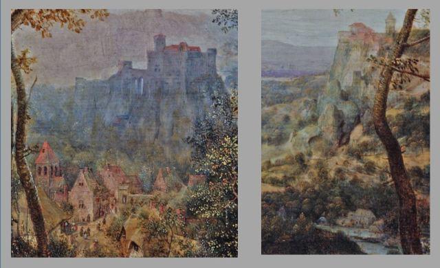 Brueghel 1568 Die_Elster_auf_dem_Galgen Musee regional de la Hesse, Darmstadt schema deux villes