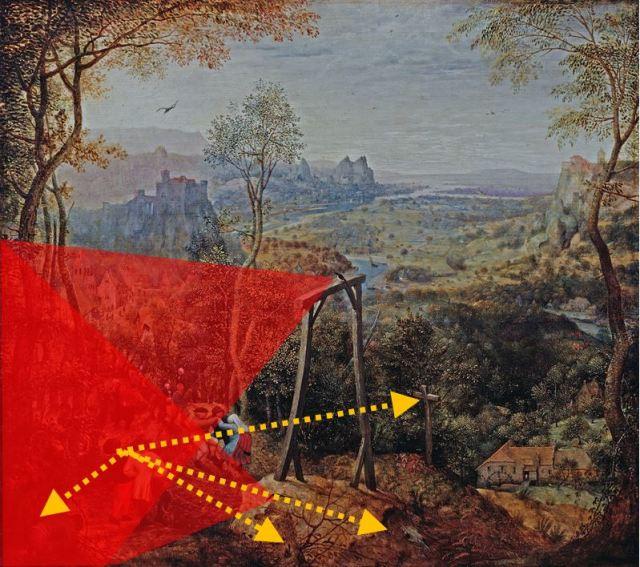 Brueghel 1568 Die_Elster_auf_dem_Galgen Musee regional de la Hesse, Darmstadt shema pies