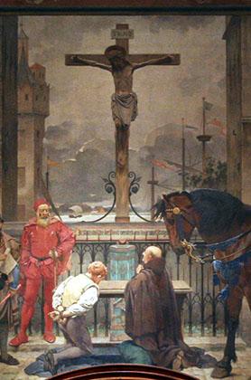 Christus aan het kruis van de Palingbrug door Pieter Van der Ouderaa, 1887, assisenzaal Gerechtgebouw (Britselei)
