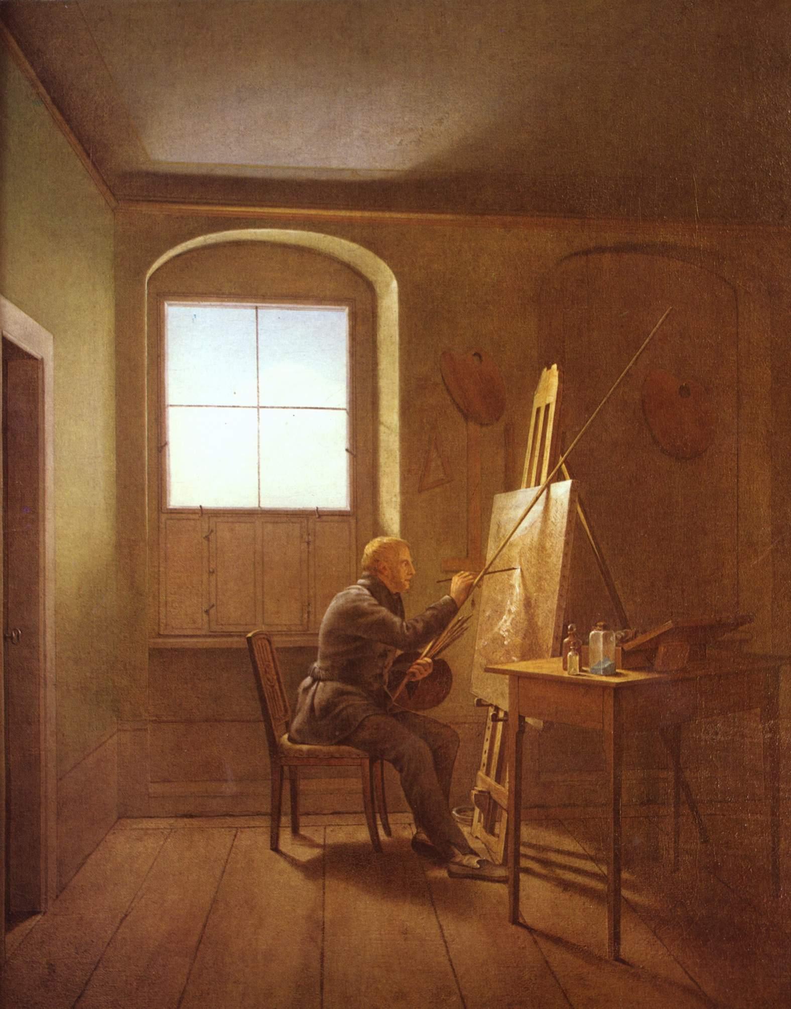 """Gustaf Friedrich Kersting: """"Caspar David Friedrich in seinem Atelier"""" 1811"""