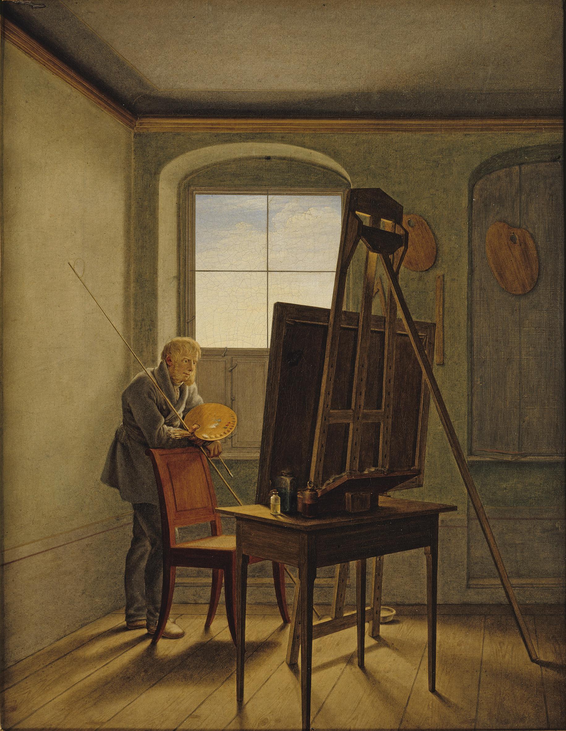 """Gustaf Friedrich Kersting: """"Caspar David Friedrich in seinem Atelier"""" 1819"""