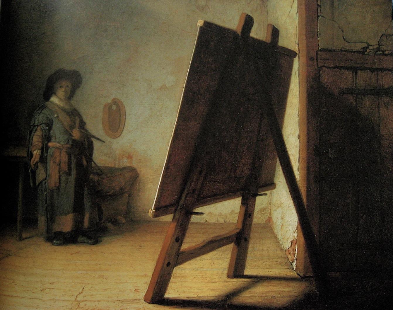 Rembrandt Le-peintre-dans-son-atelier-ou-le-chevalet-huile-bois