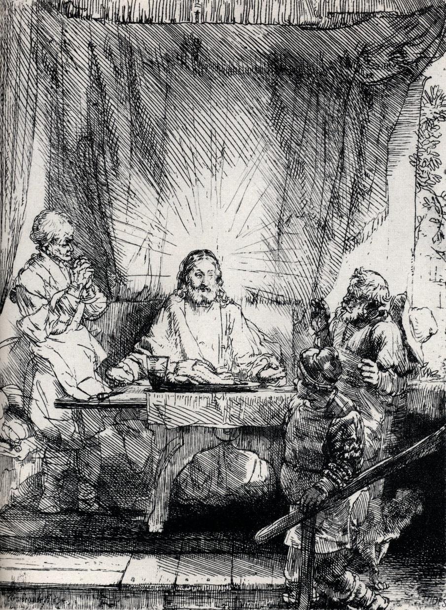 Rembrandt Pelerins Emmaus Gravure 1654