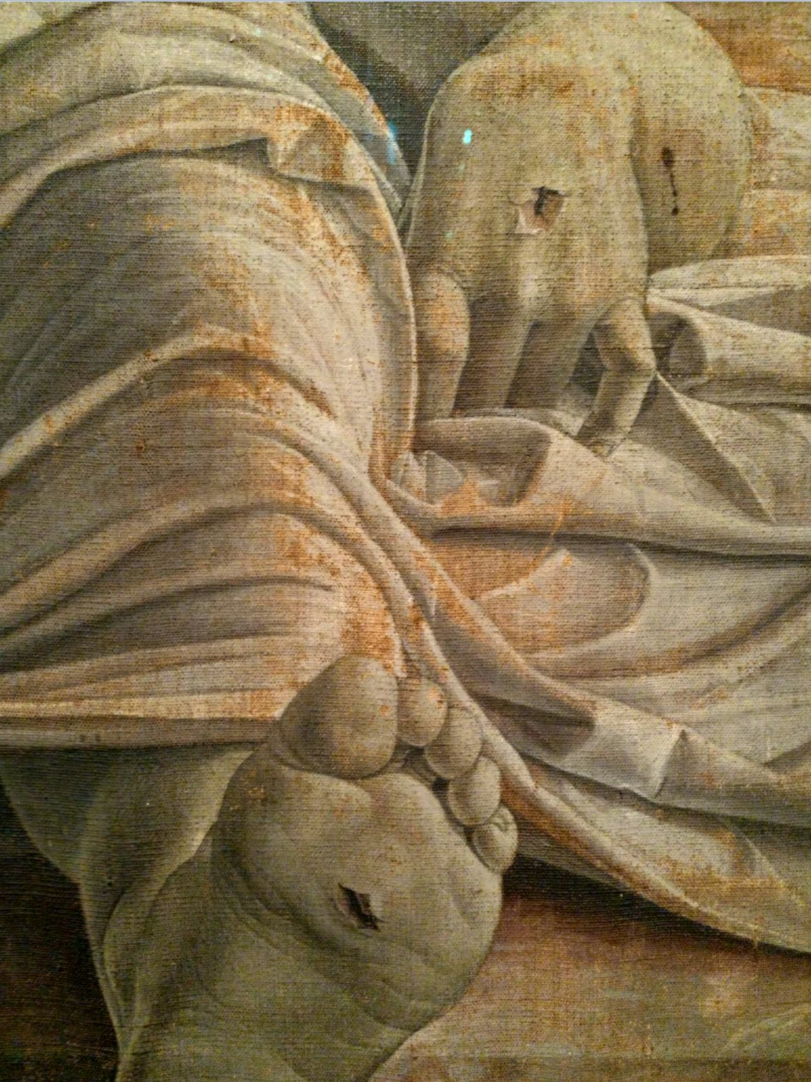 1480 ca The_dead_Christ_and_three_mourners,_by_Andrea_Mantegna Brera Milan detail