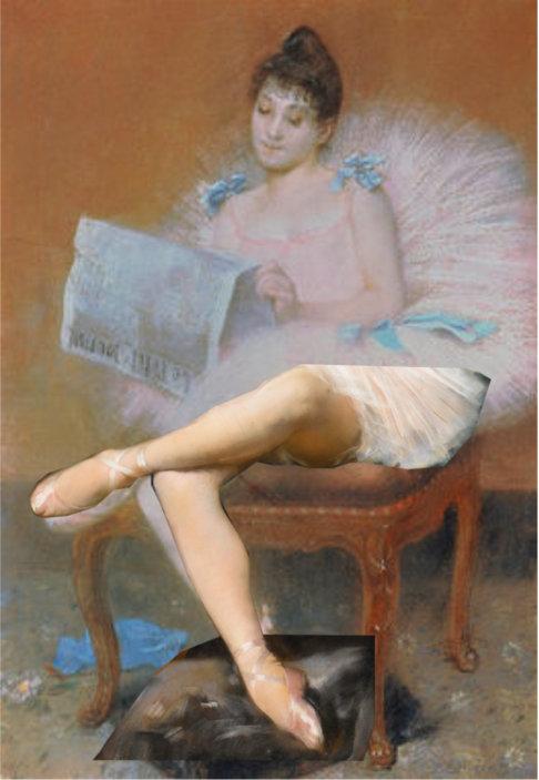 Sitzende Ballett-Tänzerin beim Lesen einer Zeitung. 1890