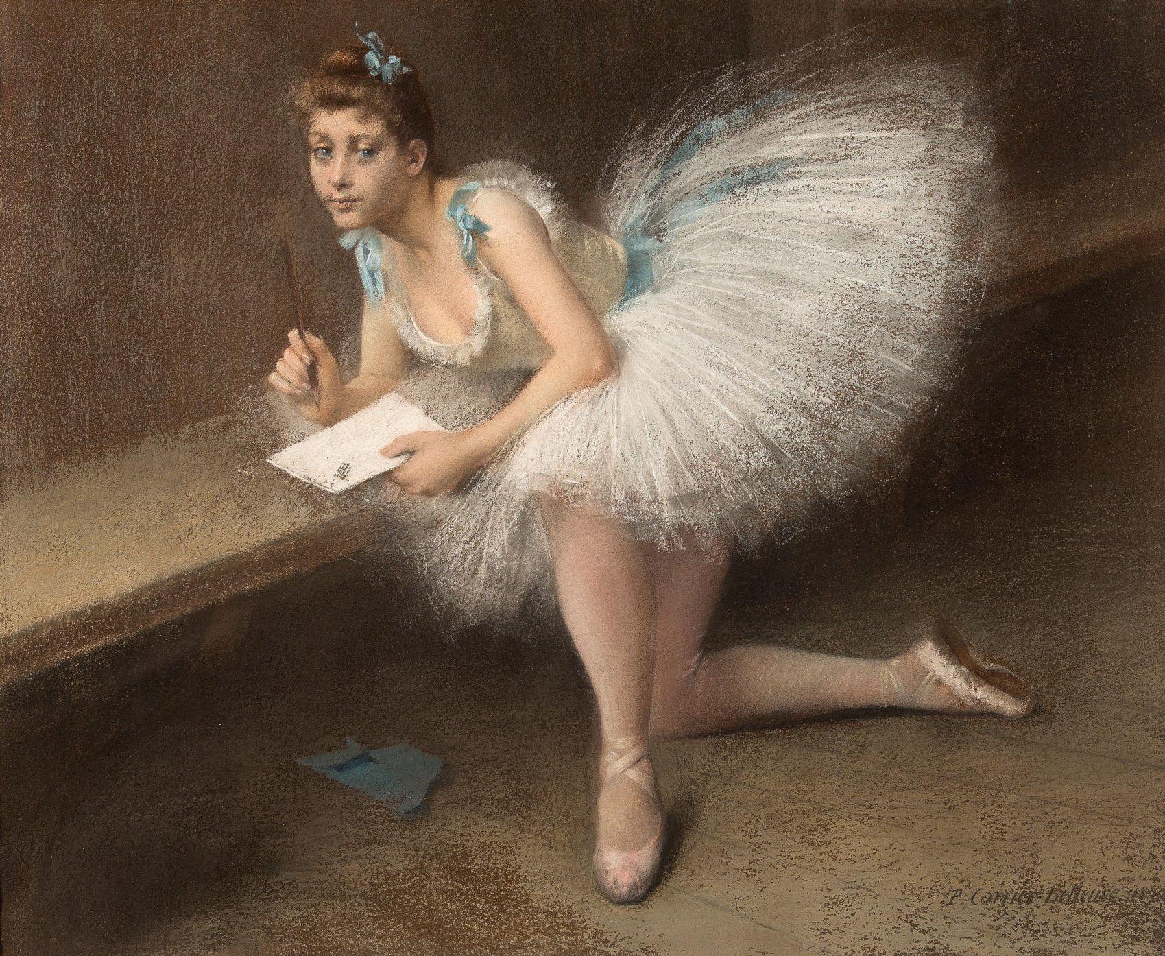 Pierre Carrier-Belleuse 1890 Ballerine ecrivant coll part