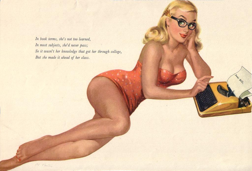 pin-up-typewriter Esquire calendar 1953
