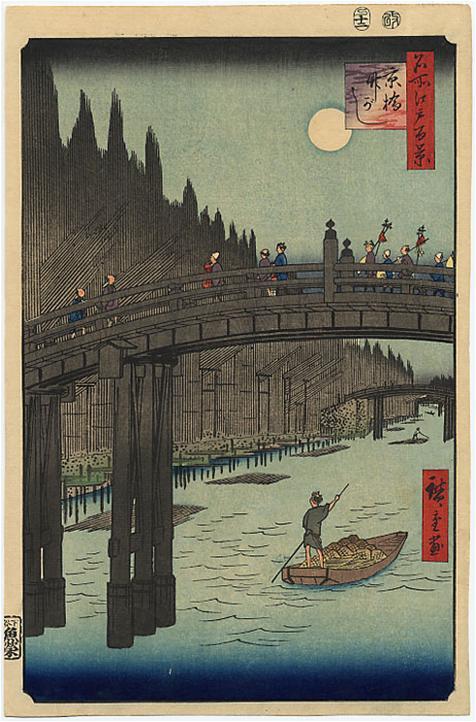 Le pont Kyo et la berge de bambous de la rivière Sumida Hiroshige