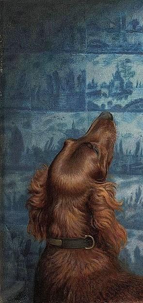 Arthur Hughes - A Passing Cloud ca 1908 detail chien