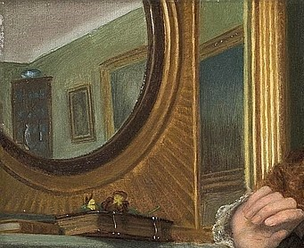 Arthur Hughes - A Passing Cloud ca 1908 detail miroir