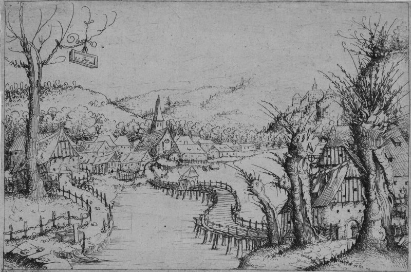 Paysage de rivière avec un pont sinueux Augustin Hirschvogel
