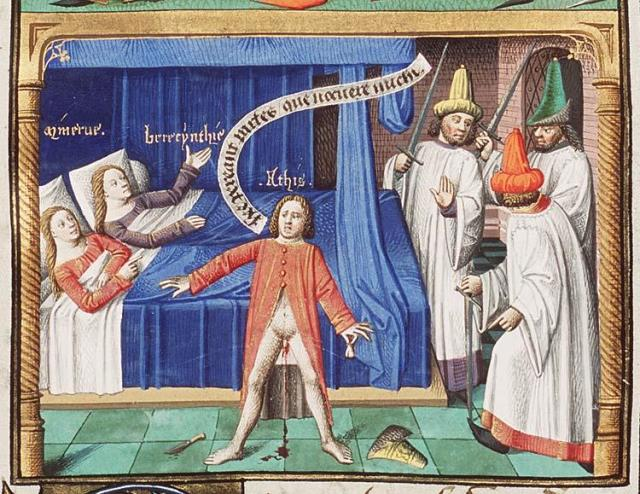 Attis se castrant lui meme Minerva and Cybele are lying in bed La cite de Dieu, manuscrit francais, 1475-1480. Fol. 43r of the Hague MMW, 10 A 11, National Library of the Netherlands
