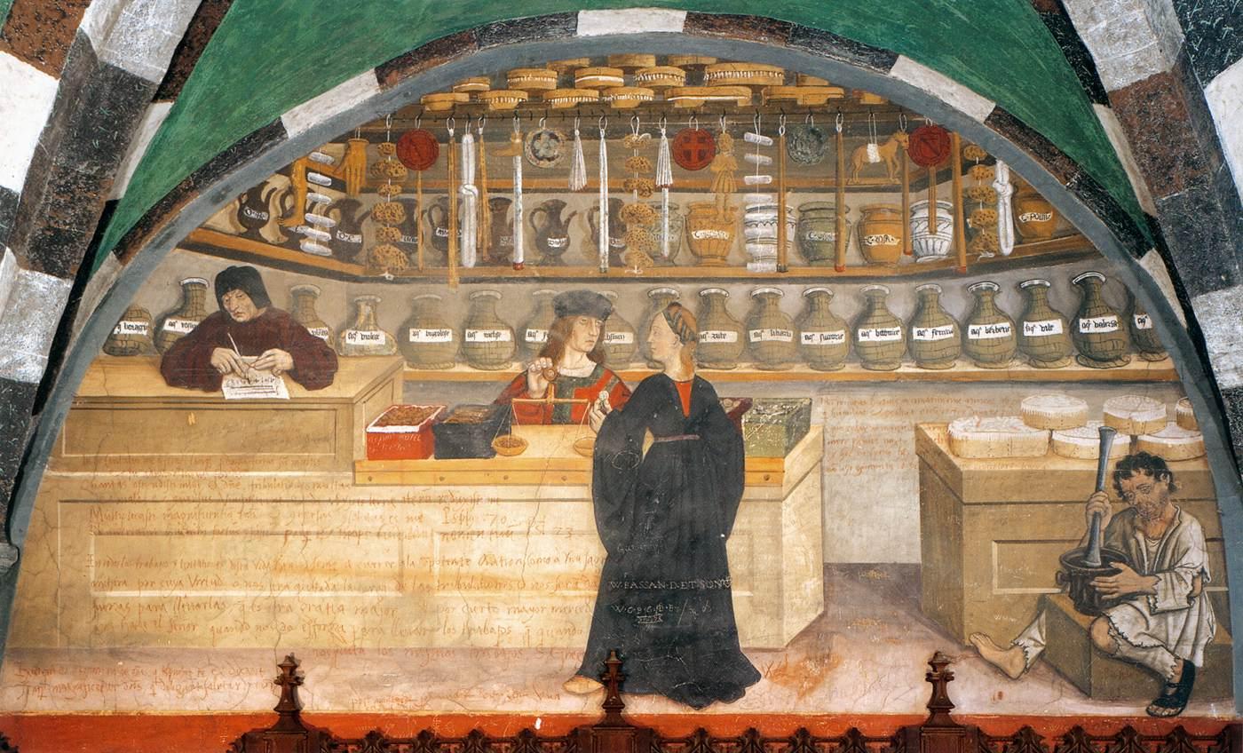 Scene of pharmacy,1489-1502. Fresco - castello d'Issogne, Val d'Aosta
