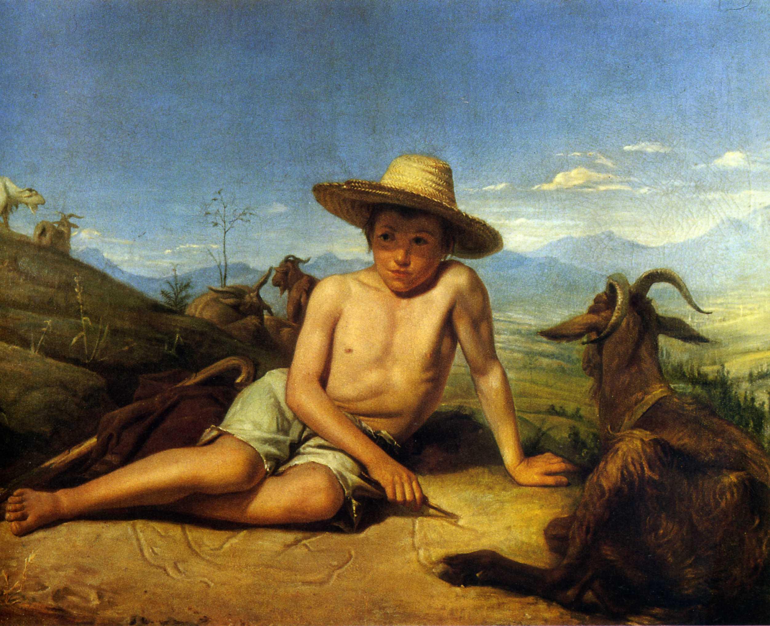 1850 bonnat léon giotto gardant les chèvres