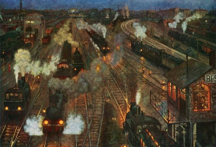 Hans Baluschek 1904 Gare metropolitaine Grossstadtbahnhof ehem. Berlin, Reichsverkehrsministerium; seit Kriegsende verschollen