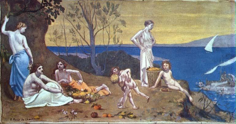 Seurat 1884  Doux Pays Puvis de Chavannes 1882