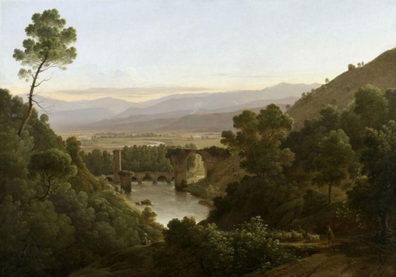 1813 Chauvin-Pierre-Athanase-La-valle-di-Narni-con-le-rovine-del-ponte-di-Augusto- Munich, Daxer und Marschall Kunsthandel. .png