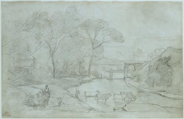 1827-Corot-Pont de Narni croquis vaches