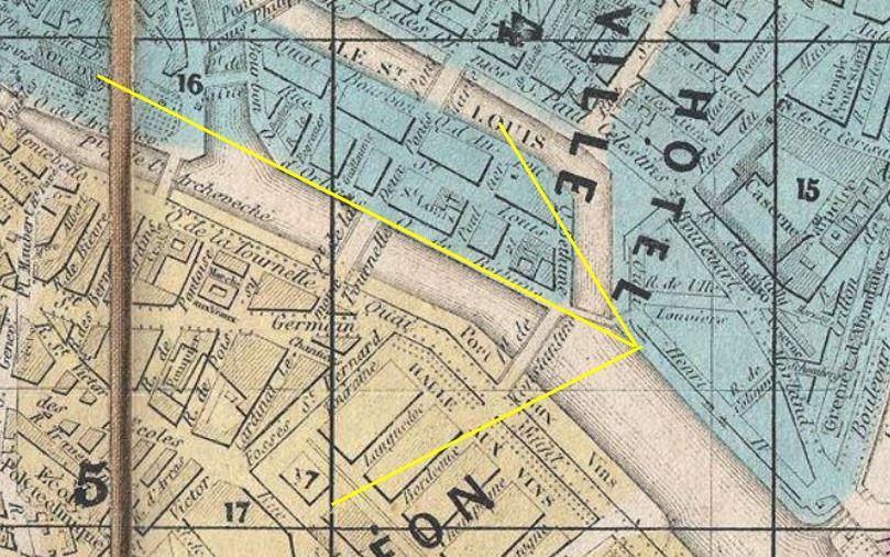 Plan de la ville de Paris andriveau 1860 detail