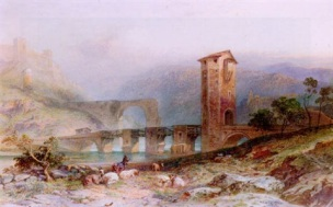 harry-john-johnson-the-river-nera-ar-narni,-umbria aquarelle coll priv
