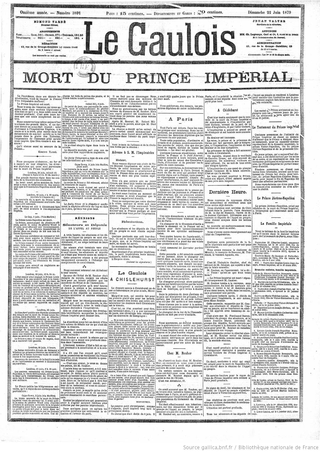 Le Gaulois Mort prince imperial (1)